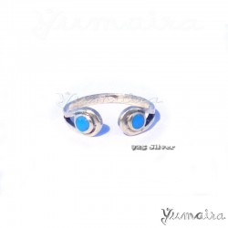 925 Silber Fußring Zehring mit2 Türkis steine Sterlingsilber Ring Silberring Damenring