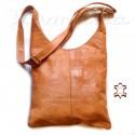 Damen Leder Tasche Shopper Natur/ Cognac Umhängetasche