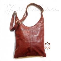 Damen echtes Leder Tasche Shopper rehbraun Umhängetasche Schultertasche Ledertasche Naturleder Echtleder Reißverschluss
