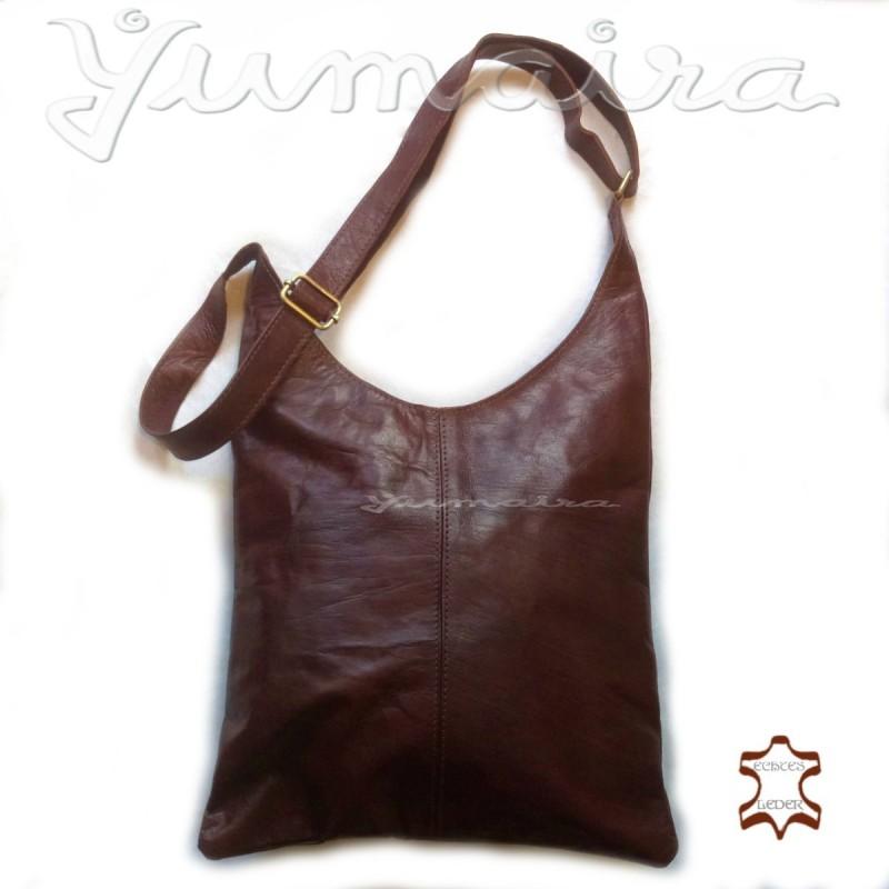 7b6aa56339e6b Damen echtes Leder Tasche Shopper Braun Umhängetasche Schultertasche  Ledertasche Naturleder Echtleder Reißverschluss. Loading zoom
