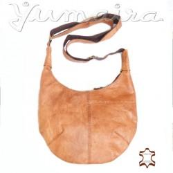 Damen Leder Tasche Natur/ Cognac Umhängetasche