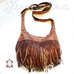 Damen echtes Leder Tasche Shopper Fransen Natur Cognac Beige Umhängetasche Schultertasche Ledertasche Naturleder Echtleder