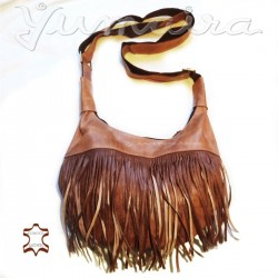 Leather Bag Shopper Fringes Natural