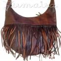Leather Bag Shopper Fringes Natural