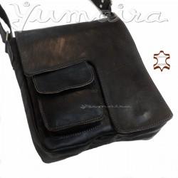 Bolso cuadrado Mensajero de Cuero Vintage Q3 Negro para Hombre Bolso de hombro