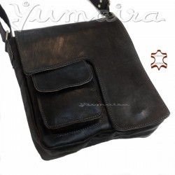 Q³ Men`s Leather Messenger Bag Black