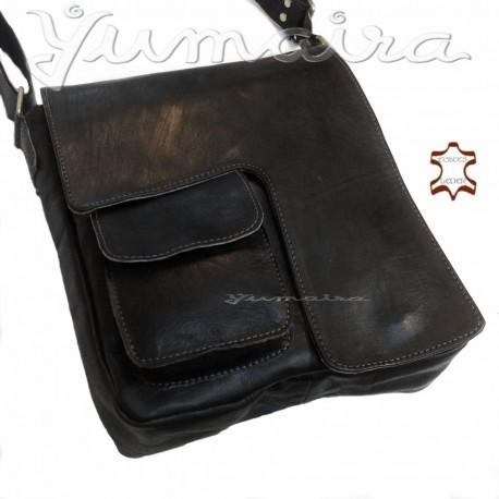 Real Leather Messenger Bag Q3 Black for Men Shoulder Bag