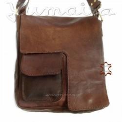 Bolso cuadrado Mensajero de Cuero Vintage Q3 marrón para Hombre Bolso de hombro