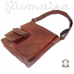 Q³ Men`s Leather Messenger Bag reddish brown