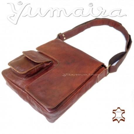 Real Leather Messenger Bag Q3 Brown for Men Shoulder Bag