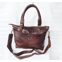 Echt Leder Damen Umhängetasche Handtasche braun