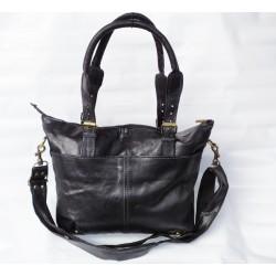 Echt Leder Damen Umhängetasche Handtasche schwarz