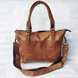 Echt Leder Damen Umhängetasche Handtasche Natur Cognac