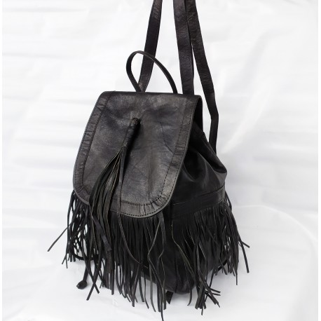 """Leather Backpack """"Cheroka"""" Brown with Fringes"""