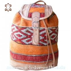 "Leather Backpack ""Ifni"" Natural / Kilim"
