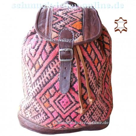 "Leather Backpack ""Badu"" Chocolate brown / Kilim"
