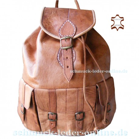 "Leather Backpack ""Tijuana"" Natural large XL"