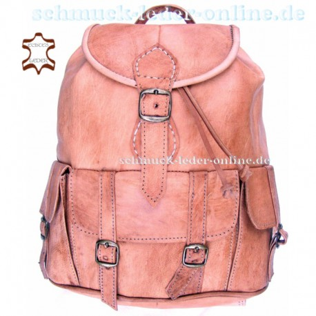 """Leather Backpack """"Toubkal"""" Natural Color Middle size"""