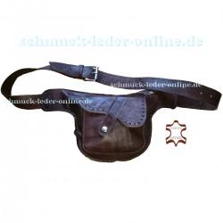 Riñonera de Cuero Natural Marrón Castaño Bolso Pequeño con Cinturon
