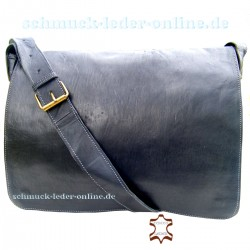 "Leather Messenger Bag ""London"" Black"
