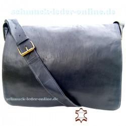 "Leder Messenger Tasche ""London"" Groß - Schwarz"
