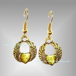 Geflügelte Goldene Herz Ohrringe