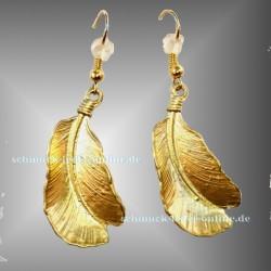 Goldene Feder Ohrringe