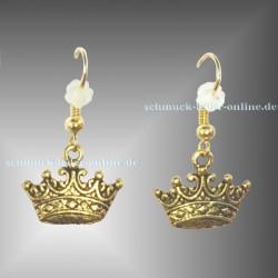 Goldene Krone Ohrringe Handgemachte Gold farbe Modeschmuck