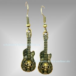 Antik Bronze farben Guitare Totenkopf Ohrringe Heavy Metal Hard Rock
