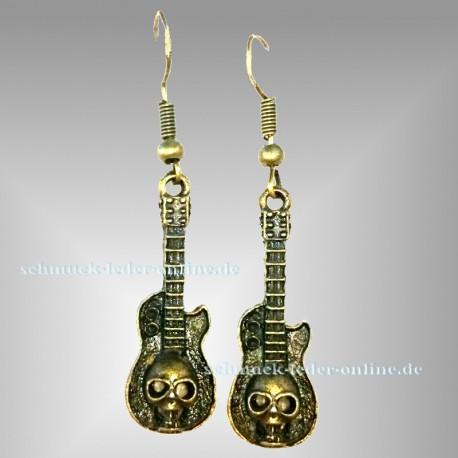 Antik Bronze farben Guitare Totenkopf Ohrringe Heavy Metal Hard Rock
