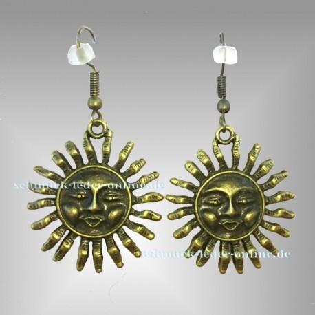☼ Bronzene Sonne Ohrringe ☼ Bronze farbene Modeschmuck