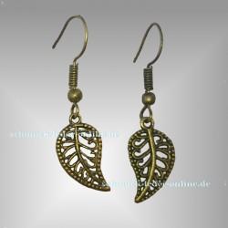 ❧ Bronzene Blatt Ohrringe ❧