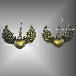 ♥ Bronzene Beflügelte Herz Ohrringe ♥ Bronze farbenes Modeschmuck Fliegendes Herz