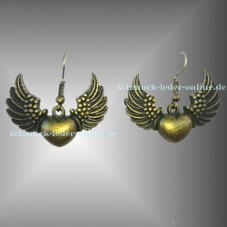 ♥ Pendientes Corazón con Alas Bronze ♥