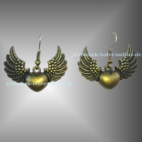 ♥ Antik Bronze Winged Heart Earrings ♥