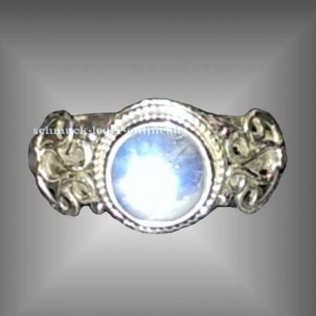 Sterlingsilber Regenbogen Mondstein Ring Echter Edelstein 925 Silber 925/000 Silberring