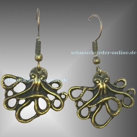 Bronzene Oktopus Ohrringe Modeschmuck Bronze farbe