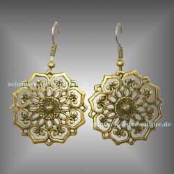 Bronzene Mandala Blume Ohrringe Modeschmuck Bronze farbe