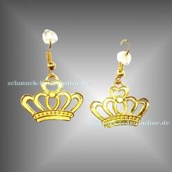 ♕ Goldene Krone Ohrringe ♕ Gold farbene Modeschmuck