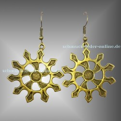 ☼ Bronzene Sonne Ohrringe ☼ Bronze farbene Modeschmuck Ninjastern Stern Mandala