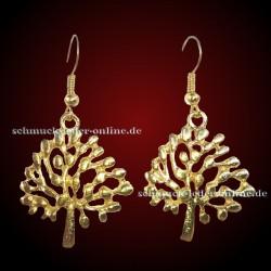 Goldene Baum des Lebens Ohrringe Vergoldet Gold Farbe Modeschmuck