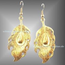Goldene Pfau Feder Ohrringe vergoldet Modeschmuck
