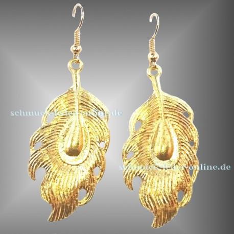 Golden Peacock Feather Earrings Fashion earrings