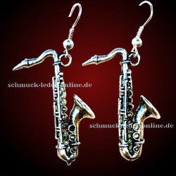 Versilberte Saxophon Ohrringe