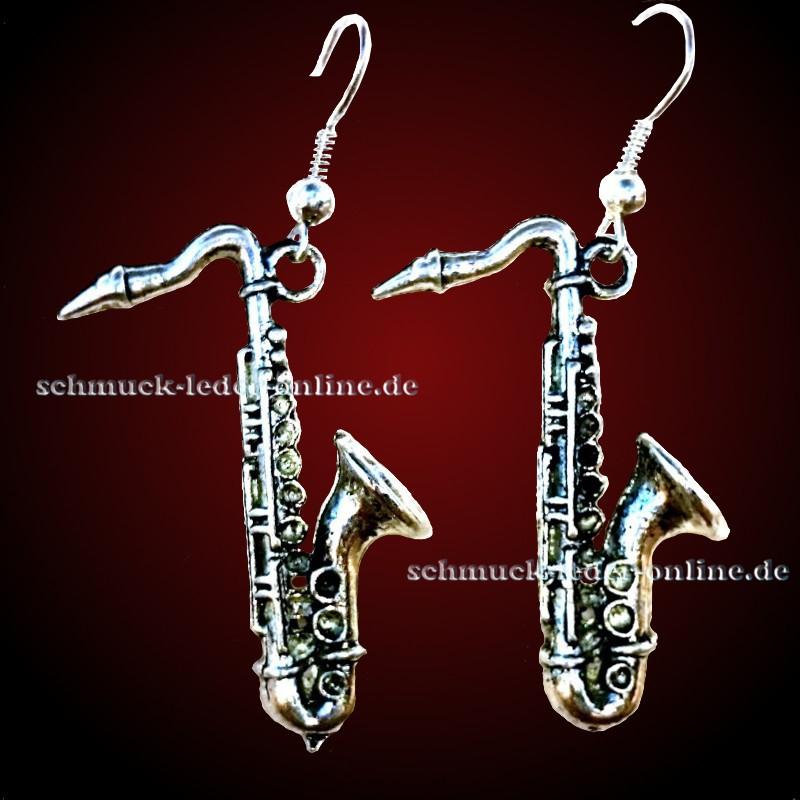 Modeschmuck silber ohrringe  ♥~ Versilberte Ohrringe ~♥~ Silberfarbene Saxofon ~♥~ Mega ...