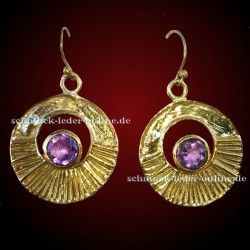 Golden faceted Amethyst Earrings Gold plated handmade brass jewelry jewellery precious stone