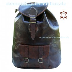 "Leather Backpack ""JunkoTabei"" chocolate"