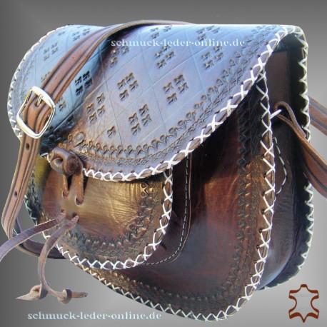 """Leather Bag """"Janice"""" dark brown cowhide natural vintage sixties retro"""