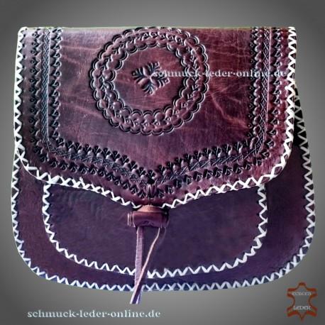 """Leather Bag """"Joplin"""" dark brown cowhide natural vintage sixties retro"""