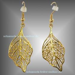 Vergoldete Blatt Filigrane handgemachte Goldene Ohrringe Gold farbene Modeschmuck